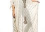 Hand Woven Georgette Kaftan with Gold Motif Embroidery by Fine n' Rhine